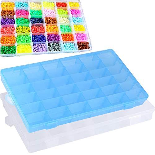 Liuer 2PCS Aufbewahrungsbox Plastik, Fächer Kunststoff Dosen Sortimentkasten Schmuckbox Sortierkasten Sortierbox Organizer Divider Schmuckschatulle für Nägel Strass Perlen Ohrring DIY Handwerk