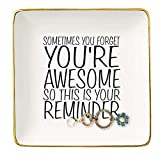 You are Awesome Gift – Ceramic Jewelry Holder Ring Dish Trinket Tray – Inspirational Birthday Graduation Christmas Gifts for Best Friends,Daughter,Sister,Niece,Women,Co-worker