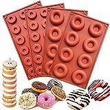 HautHome 4 Pcs Molde para Donut de Silicona, Molde Silicona Horno Donut, sin BPA, Antiadherente,...