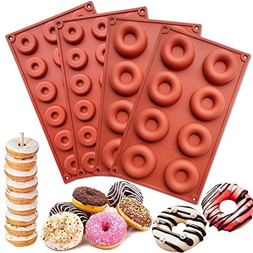HautHome 4 Pièces Moules à Donuts en Silicone Antiadhésif,Mo