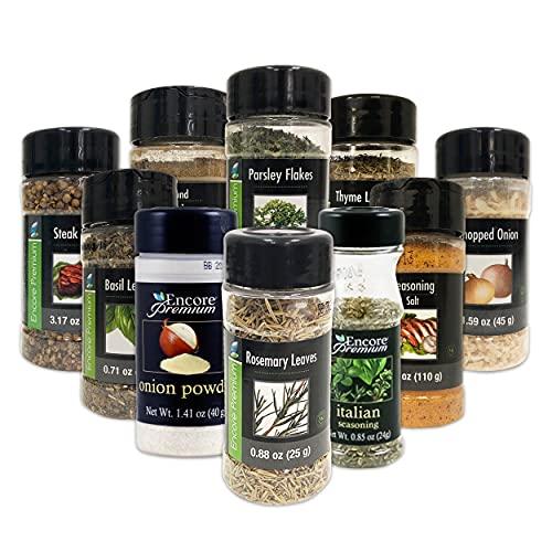 Encore Seasonings And Spices 10 pk - Premium Cooking Spices And Herbs (Seasoning Salt, Basil, Parsley, Italian Seasoning, Cumin, Rosemary, Steak Spice, Chopped Onion, Onion Powder, Thyme)