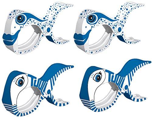 Tuuli Accessories Summer Clips Große Strand Klammern für Strandtuch Wäscheklammern Klammer Strandliege Yacht Kinderwagen Zubehör (2X Blau + 2X Weiss)