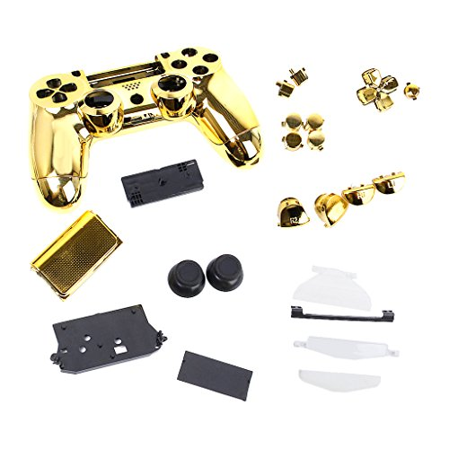 FLAMEER Controller Full Shell Kits Ersatz Cover Case Skin Modding Chrome Hülle für Sony PS4 Controller - Gold