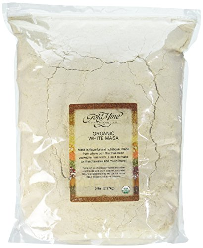 Gold Mine Natural Food Co. Gold Mine Masa Harina - USDA Organic - Macrobiotic, Vegan, Kosher and Gluten Free Flour for Healthy Mexican Dishes – 5 lbs, White Corn, 80 Oz