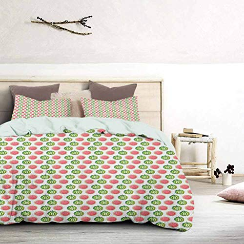 UNOSEKS LANZON Duvet Cover Set Watercolor Style Tropical Fruit Pattern Cut in Half Fresh Summer Taste Soft Bedding Cover Gives You a Good Sleep Green Coral White, King Size