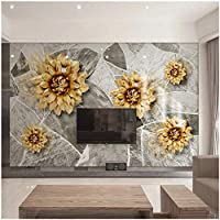 Xbwy 装飾壁画大理石のテクスチャの花壁画壁紙ヨーロッパスタイルの豪華なリビングルームの家の装飾-400X280Cm