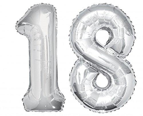 KPW Ballon Chiffre 18 en Argent - Taille XXL : 86 cm