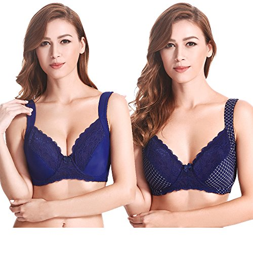 Curve Muse Plus Size Balconette Underwire Lace Bra with Padded Shoulder Straps-2pack Size:40DDD