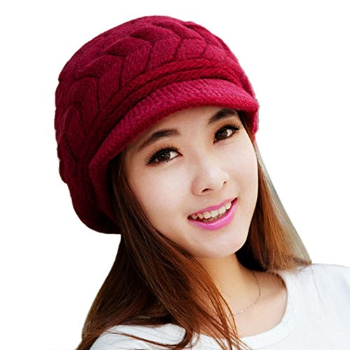 Ikevan Elegant Women Hat Winter Fall Beanies Knitted Hats For Woman Cap Autumn And Winter (Red)