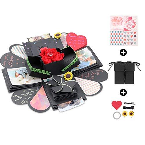 Amycute Explosion Box,Scatola Sorpresa Creativa DIY Scrapbook Fatto a Mano, Regalo Fai da Te della Mamma,Album di Foto ricordo, Regalo di Compleanno