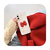 Funda transparente 3D con lazo rojo para iPhone 12 Mini 11 Pro Max X XR XS Max 7 8 Plus SE 2020 Lovely Spot Back Cover Coque-T1-For iPhone 11 Pro
