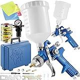 TecTake 2X Pistolas de Pintar pulverizadora de Pintura HVLP 1,3 + 0,8 mm maletín + 1 LTR removedor de Silicona + Bayetas de Microfibra