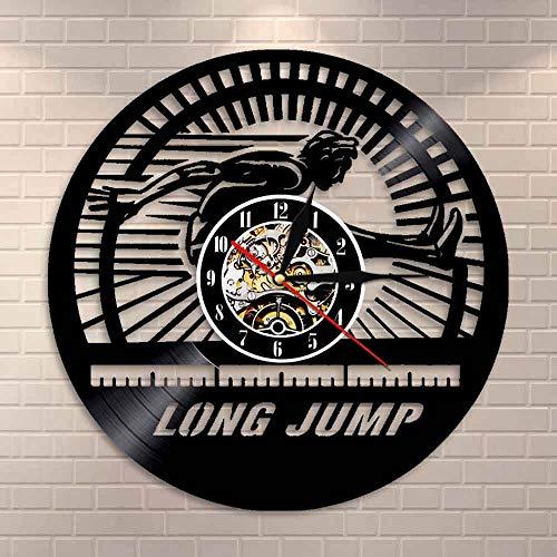 BFMBCHDJ Weitsprung Athlet Wanduhr Leichtathletik Schallplatte Wanduhr Home Decor Modernes Design Dekorative Uhr Long Jumpers Geschenk