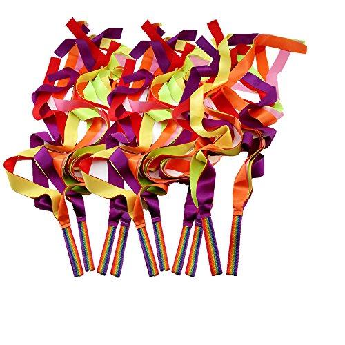 JBBERTH 1M Colorful Gymnastics Rhythm Ribbon Dancer Ribbon Dance Ribbon Rhythm Ribbon - Set of 10