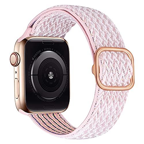 iBazal Nylon Solo Loop Banda Trenzada Compatible con Apple Watch Correa 38mm 40mm Nylon Pulseras Tela Lona Reemplazo para iWatch SE Series 6 5 4 3 2 1 Elastic Woven Sport Band - Limo 38/40