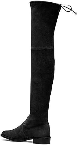 SYYAN Femmes Suède étendue Confortable Confortable Confortable ApparteHommest Le Genou Bottes Noir , noir , 37 58a