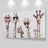 Cuadros de arte en lienzo de la familia de la jirafa curiosa Cuadros de la familia de jirafas grandes Cuadro de jirafas decorativo de pared 80x120cm con marco