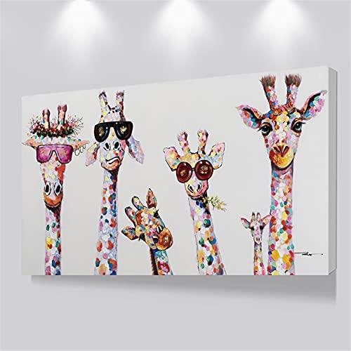 Cuadros de arte en lienzo de la familia de la jirafa curiosa Cuadros de la familia de jirafas grandes Cuadro de jirafas decorativo de pared 40x90cm con marco