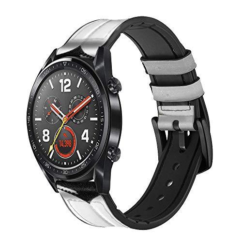 Innovedesire Football Soccer Ball Correa de Reloj Inteligente de Cuero para Wristwatch Smartwatch Smart Watch Tamaño (18mm)