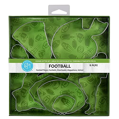 R&M International Ausstechformen Fußball 2 Fußbälle Spieler Helm Cheerleader Megaphon 6-teilig