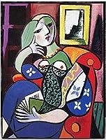 ピカソキャンバス絵画幾何学の女性と本の壁アートポスターとプリントシュールレアリズムアートキャンバス写真リビングルームの装飾40x60cmフレームなし