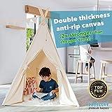 Canicove Tipi Zelt Für Kinder – Faltbares Indoor & Outdoor Set Baumwolle Naturfarben mit Massivholzpfosten & Jux Flaggen für 2 Jungen & Mädchen (Naturfarben) Segeltuch Wigwam - 2