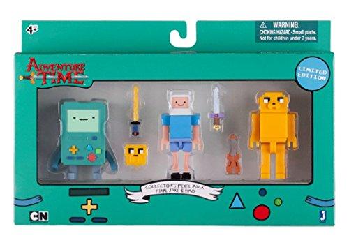 Adventure Time 14609 - Figurines 7cm - Pack Collector Pixel de 3 - BMO / Finn / Jake avec accessoires