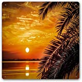 Sunset Palm Tree Vintage Retro Metal Cartel de chapa Sunset and...