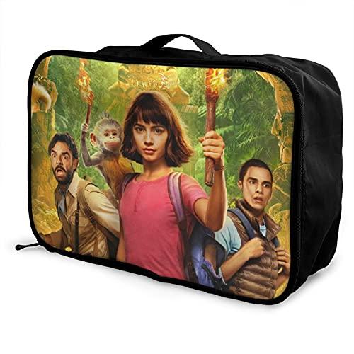 Dora The Explorer - Bolsa de equipaje portátil de gran capacidad, impermeable, ligera, de viaje, hecha de poliéster, con patrones de impresión elegantes y exquisitos