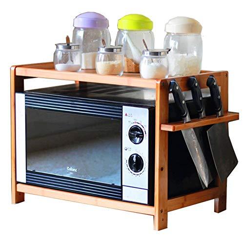 BESTSOON Soporte para microondas de 2 niveles de bambú para horno de microondas (tamaño: 53 cm, color: madera)