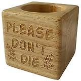 vizuzi Please Don't Die Funny Humour Wooden Wood Succulent Plant Flower Pot Rustic Farmhouse Decor Plant Lover Friend Gifts