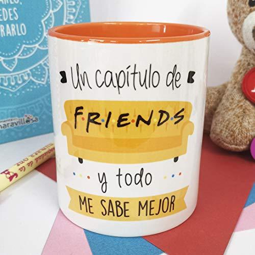 La Mente es Maravillosa - Taza con Frase y dibujo. Regalo original y gracioso (Un capítulo de friends y todo me sabe mejor) Taza Serie Friends