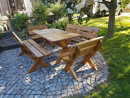 Sitzgruppe Waidmann straight - 5 teilig 180cm I Sitzgarnitur aus massiver Eiche | Gartenmöbel oder Parkbank I Holzbank I Sitzgruppe I Massivholz I Made in Germany I Outdoormöbel