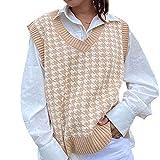 Suéter de Gran tamaño para Mujer Chaleco de Punto sin Mangas con Cuello en V Patrón de Pata de Gallo Ventilaciones Laterales Jersey sin Mangas (Caqui, L)