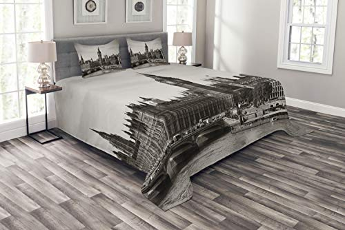 ABAKUHAUS London Tagesdecke Set, Westminster mit Big Ben, Set mit Kissenbezügen Weicher Stoff, für Doppelbetten 220 x 220 cm, Sepia White