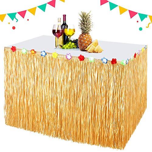 EXTSUD Gonna Tavolo Hawaiana 300cmx75cm Gonna da Tavolo in Erba con Fiori Finti Tovaglia Stile Hawaiano Decorazione per Feste Compleanno Giardino Barbecue Spiaggia Fai da Te Hawaiian Party