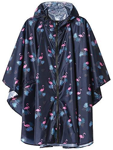 Summer Mae Regen Poncho Jacke Mantel für Erwachsene mit Kapuze wasserdicht mit Reißverschluss im Freien,Einheitsgröße,Blau Flamingo
