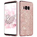DUEDUE Galaxy S8 Case,Samsung S8 Case, Bling Slim Hybrid Hard PC Cover Shockproof Non-Slip Luxury Glitter Full Body Protective Phone Case for Samsung Galaxy S8 for Women/Girls, Rose Gold