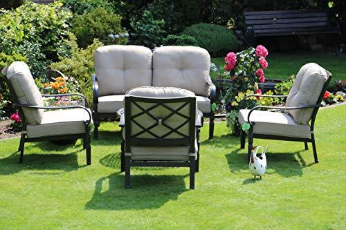 Hanseatisches Im- & Export Contor GmbH Aluguss Gartenmöbel Set, Gartenmöbelgarnitur bestehend aus 1 Garten-Sofa und 3 Garten-Sessel