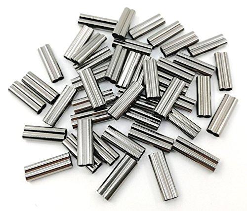 JSHANMEI Doppelzylinder-Crimphülsen, schwarz, starkes Messing, Kupferrohrverbinder, Anraht, Angelschnur, Zubehör (1,4 mm (100 Stück)