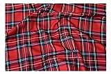 Fabrics-City Originale Tessuti Scozzese in Tartan Rosso, 2410
