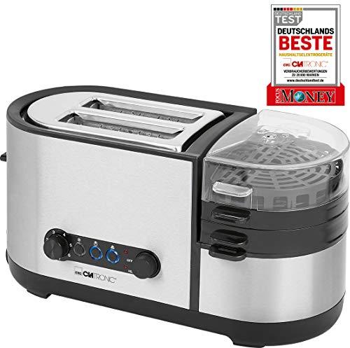 Clatronic TAM 3688 Multifunktions-Toaster 5in1, Toasten, Eier kochen, Omelett/Spiegelei/Rührei, Pochieren, Dampfgaren, Brötchenaufsatz, Krümelschublade, Edelstahlgehäuse