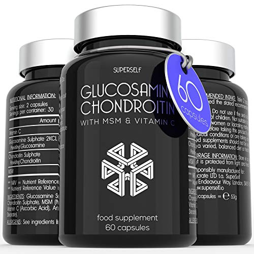 Glucosamine and Chondroitin MSM Capsules - High Strength Complex with Glucosamine, Chondroitin, MSM and Vitamin C - 60 Tablets - Supplement for Men and Women - 1100mg Glucosamine Sulphate per Serving