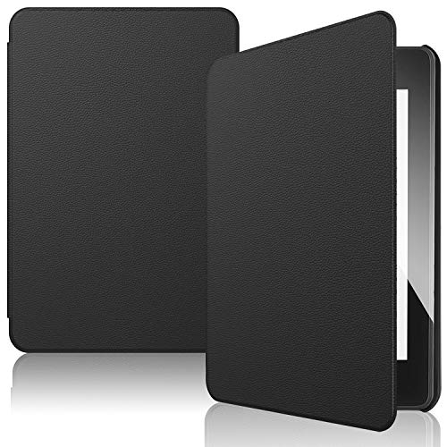 IVSO Custodia Cover per Nuovo Kindle Paperwhite 2018, Slim Smart Protettiva Custodia Cover in pelle PU per Amazon Kindle Paperwhite (10th Generation, 2018 Release), Nero