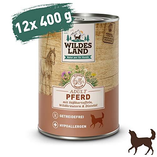 Wildes Land   Nassfutter für Hunde   Nr. 3 Pferd   12 x 400 g   mit Süßkartoffeln, Wildkräutern & Distelöl   Glutenfrei   Extra viel Fleisch   Beste Akzeptanz und Verträglichkeit