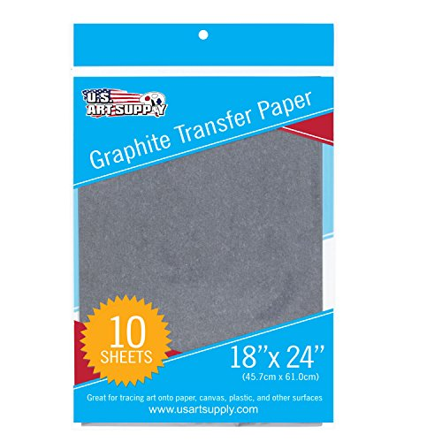 U.S. Art Supply Graphite Carbon Transfer Paper 18' x 24' - 10 Sheets - Black Tracing Paper for All Art Surfaces