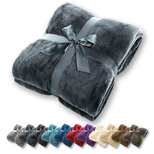 Manta Gräfenstayn - Muchos tamaños y colores diferentes - Manta de microfibra Manta para sala de estar Manta para cama - Fibra polar de microfibra de franela (Antracita, 240x220 cm)