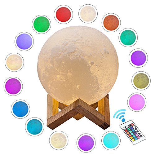 ACED 5.9Inch Luna Moon Lamp Night Light 3D Printed Lunar Moonlight Lamp LED Dimmable Touch Bedside...