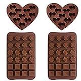 Stampo In Ailicone - WENTS 4PCS Torta di cioccolato della gelatina del silicone del ghiaccio fondente della muffa della muffa di cottura forma di cuore piazza rotonda per celebrazioni feste