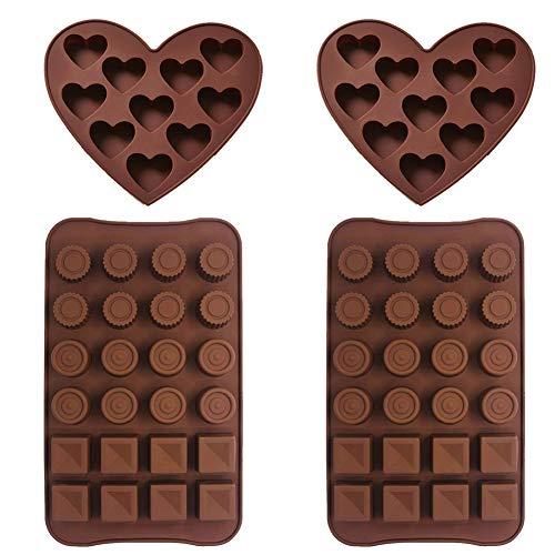 Silikon Schokolade Formen - WENTS 4PCS Silikonform Silikon Backform Herzen Silikon Eiswürfelform Runden Quadrat Blöcke Kekse Schokoladenform Pralinenform Antihaftend und Lebensmittelecht